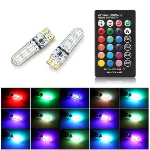 LAMPU LED BOHLAM VARIASI MOBIL T10 RGB 16 WARNA PLUS REMOTE