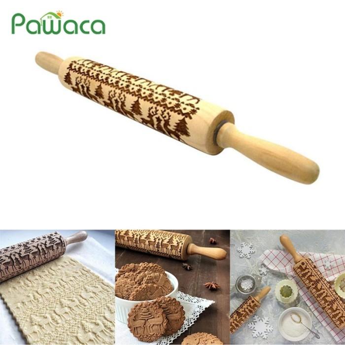 2018 Flower Wood Rolling Pin Embossing Baking Cookies Biscuit Fondant Christmas
