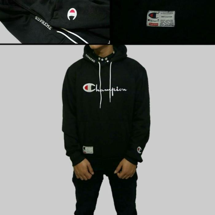 sweater hoodie champion hitam/hoodie supreme