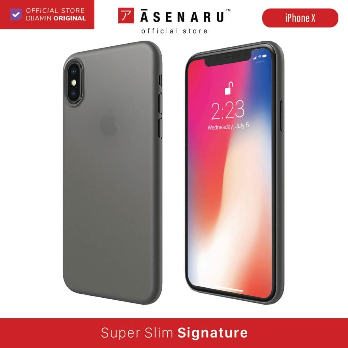 Foto Produk ASENARU iPhone X Case - Super Slim Signature - Gunmetal Gray dari Asenaru Official Store