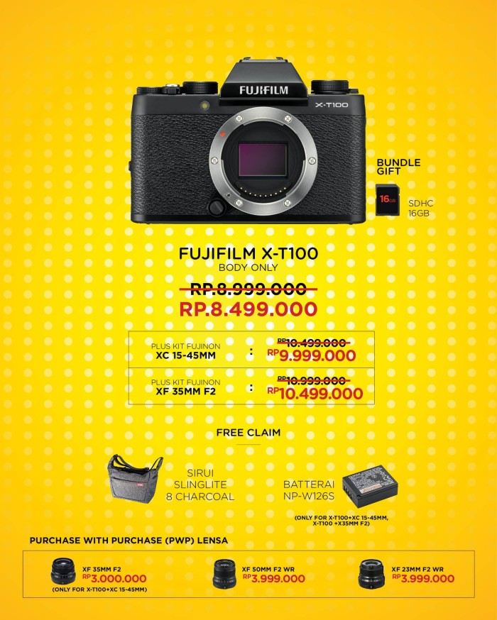 harga Fujifilm x-t100 / xt100 mirrorless digital camera bo + xf 35mm f1.4 Tokopedia.com