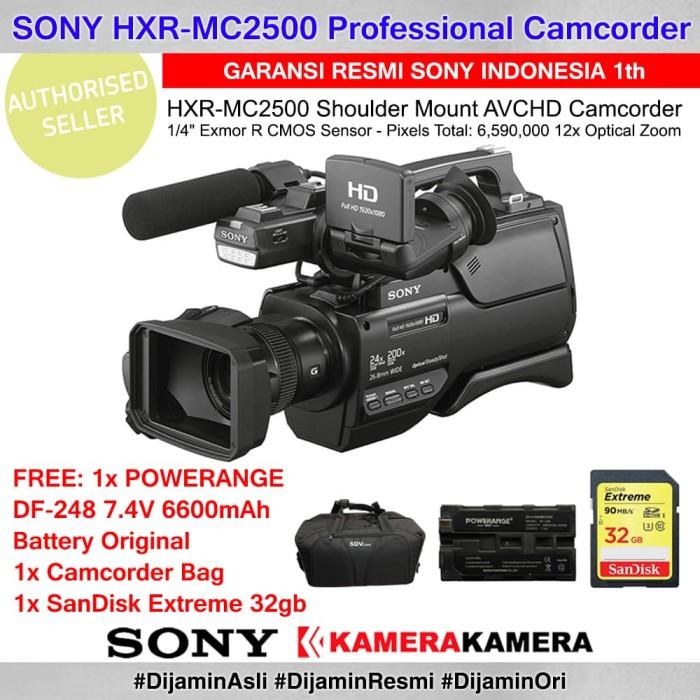 harga Sony hxr mc2500 pro camcorder resmi + powerange batt + sdextr32 + bag Tokopedia.com
