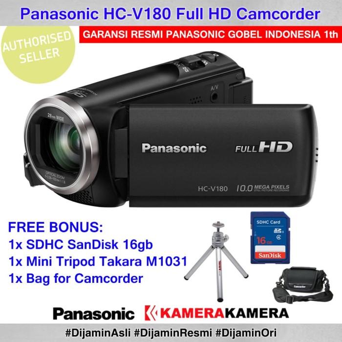 harga Panasonic hc v180 panasonic v180 resmi +minitripodm1031+sandisk16+bag Tokopedia.com