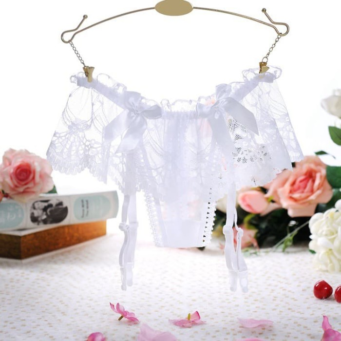 Foto Produk Lingerie Sexy G String Garter Belt G String Stocking t05 - Putih, FREE dari Online Fashion Style