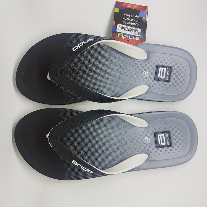 ando caribean hitam putih sandal jepit spon karet pantai cowok pria - Abu- abu Muda