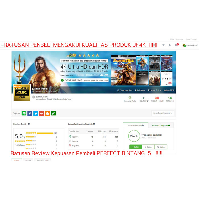 Jual Film 4K UHD HDR Blu-ray REMUX 1TB ( Film ONLY - KHUSUS JAKARTA ) - DKI  Jakarta - jualfilm4kcom | Tokopedia