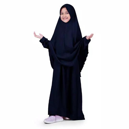 Foto Produk Baju Muslim Gamis Anak Perempuan Syar'i 1 Set Polos Elegan dari Khonsa Olshop