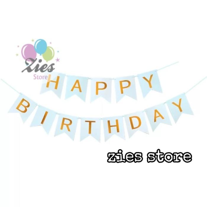 Foto Produk Banner happy birthday / bunting flag ulang tahun biru tulisan gold dari Zies store