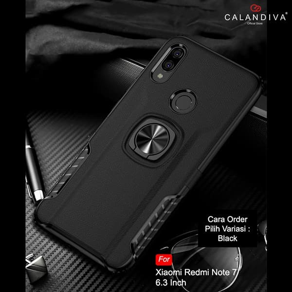 Calandiva Hard Case Xiaomi Redmi Note 7 Pro Casing Ring Thunder - Black