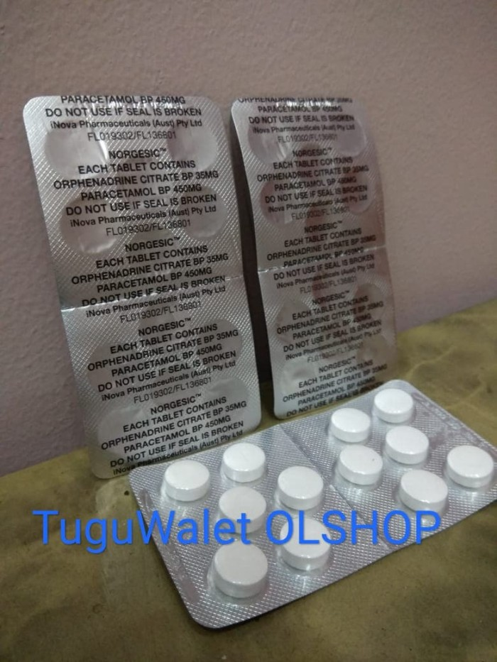 Jual Norgesic (Orphenadrine Citrate with Aspirin and Caffeine ...