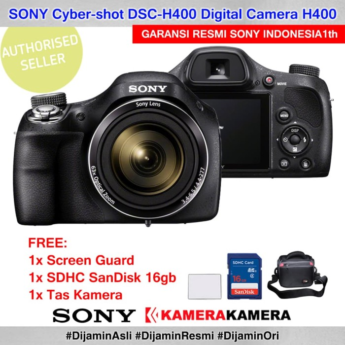 harga Sony dsc h400 sony h400 garansi resmi + screenguard + sandisk 16 + bag Tokopedia.com