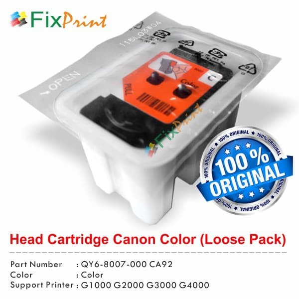 harga Head cartridge canon g1000 g2000 g3000 color loose pack qy6-8007 Tokopedia.com