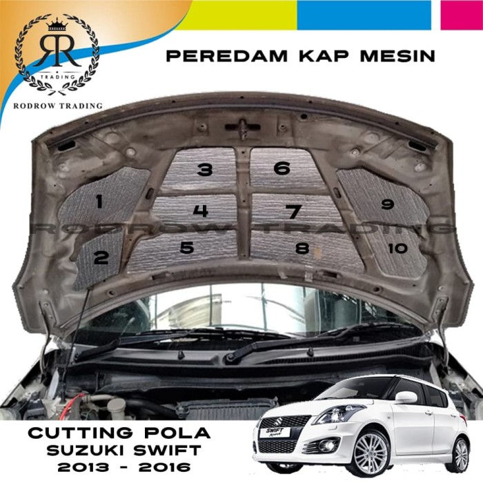 Foto Produk Peredam Kap Mesin Mobil Suzuki SWIFT 2013-2016 / Cutting Pola Peredam dari Rodrow Trading