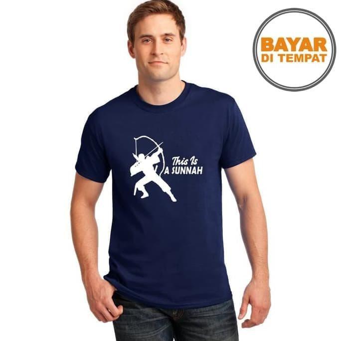 Foto Produk Kaos Distro / T-Shirt Pria / Baju All Size Sunnah Memanah - Hitam dari elina outlet
