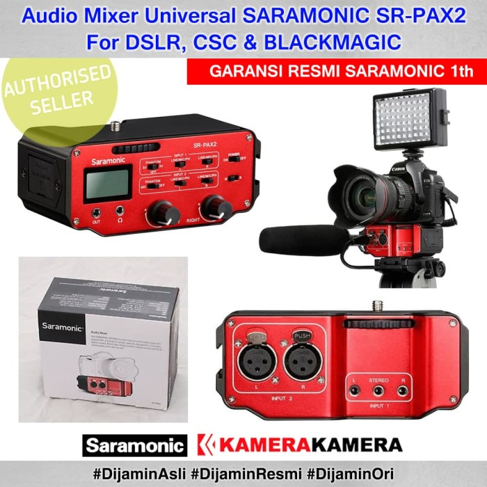 harga Audio mixer universal saramonic sr-pax2 for dslr csc & blackmagic Tokopedia.com