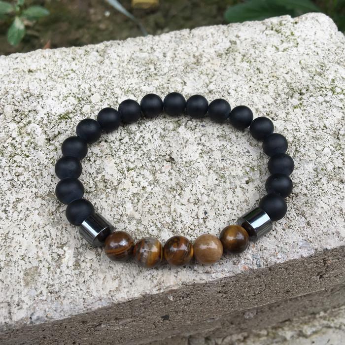 Foto Produk Gelang Batu Black Onyx Hitam Kombinasi Tiger Eye dan Hematite Keren dari Riza Craft
