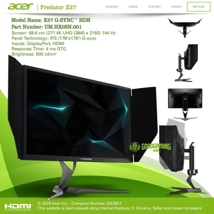 Jual ACER Predator X27 LED GAMING Monitor 27 Inch 144hz 4K G-SYNC - Jakarta  Pusat - GOODGAMINGM2M | Tokopedia