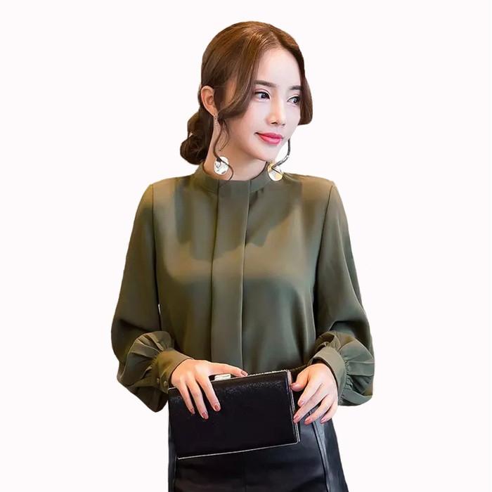 Foto Produk ARINA Okechuku Blouse Tangan Panjang Wanita Gaya Korea Model Terbaru - Hitam, M dari Okechuku