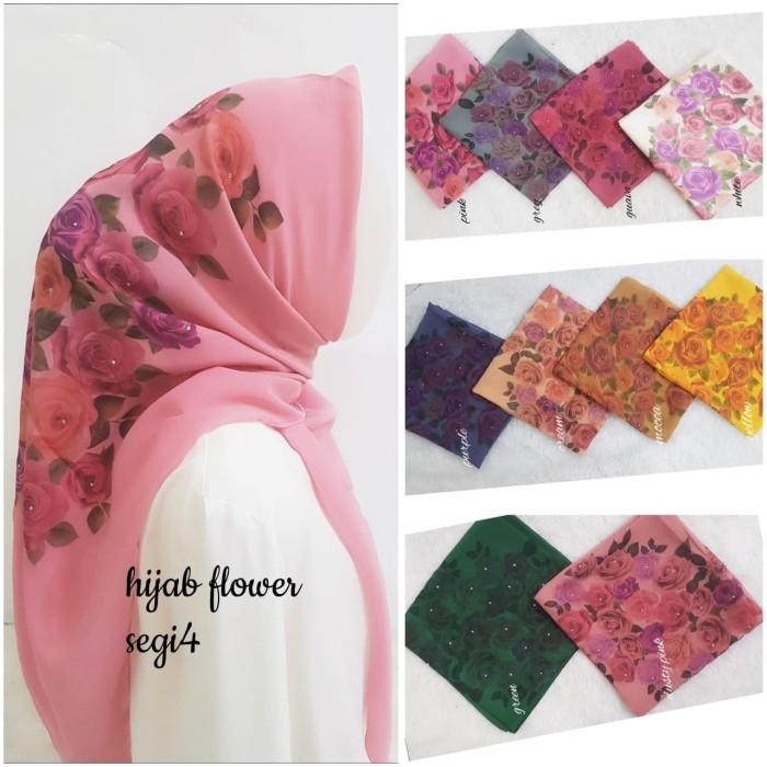 Hijab flower printing I Jilbab bella I Segiempat flower diamond - Pink