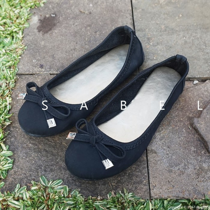Isabel pauline sepatu balet wanita flat shoes hitam navy biru - hitam 40