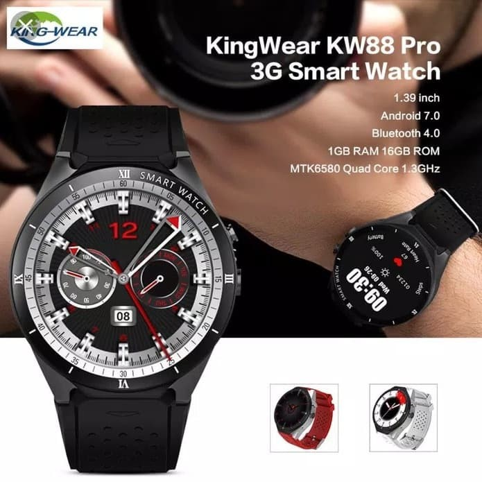 Jual Kingwear Kw88 Pro Smartwatch Phone Android 7 Gps Wifi Call Sms