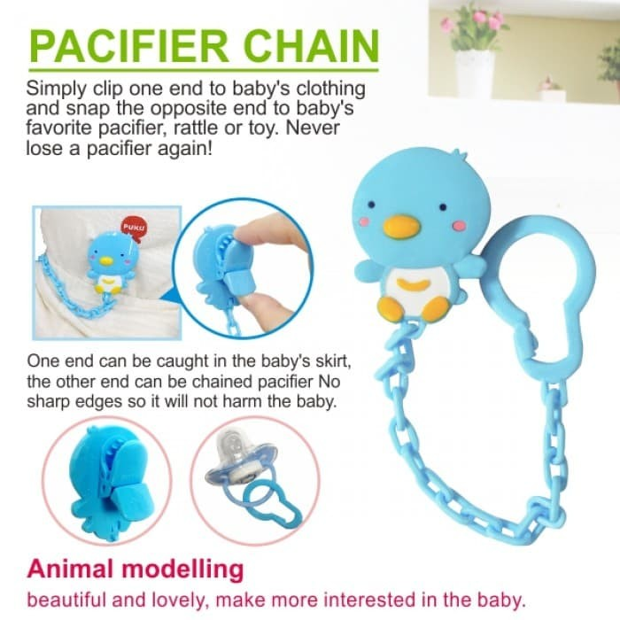 harga Puku pacifier chain 11105 - pengait dot bayi / gantungan empeng blue Tokopedia.com
