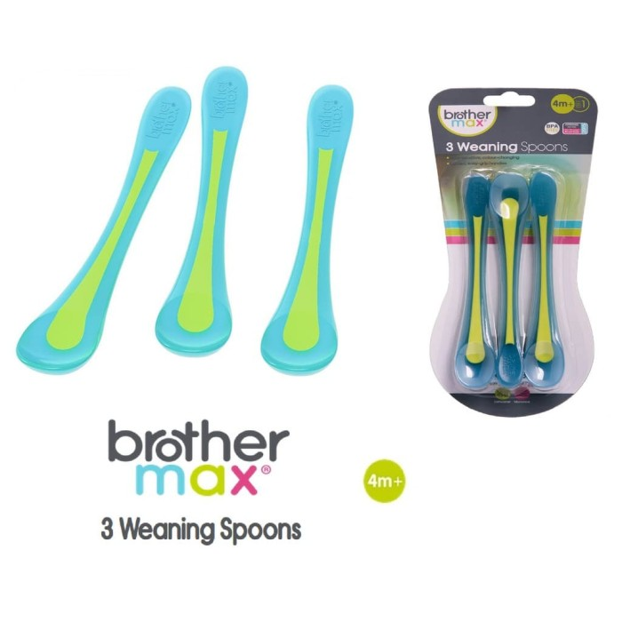 Brother Max Heat Sensitive Travel Baby Spoons Blue//Green, Pack of 2