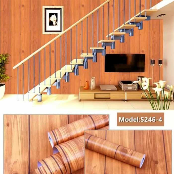 Foto Produk Wallpaper papan kayu coklat 45 cm x 10 mtr || Wallpaper dinding dari dedengkot wallpaper