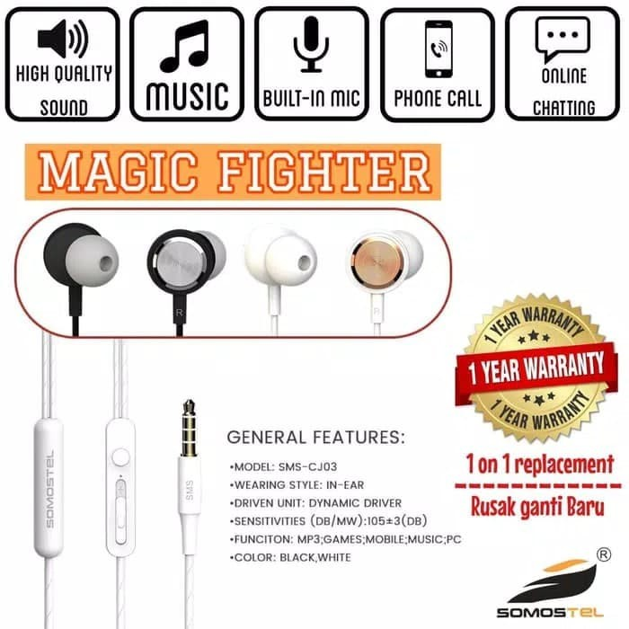 Jual Somostel Earphone Magic Fighter Super Bass SMS-CJ03 Original - Hitam -  Kab  Tangerang - AQilaSt0re | Tokopedia