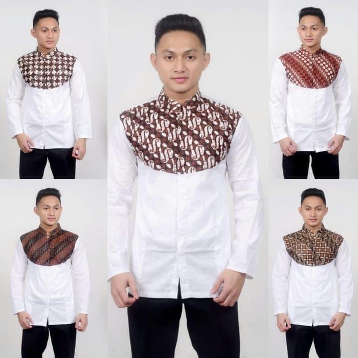 Jual Koko Batik Kombinasi Lengan Panjang Baju Muslim Pria 08 Terbaru Kota Pekalongan Ilul Sy Batik Tokopedia