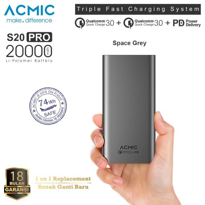 Foto Produk ACMIC S20PRO 20000mAh Power Bank Quick Charge 3.0 + PD dari ACMIC Official Store