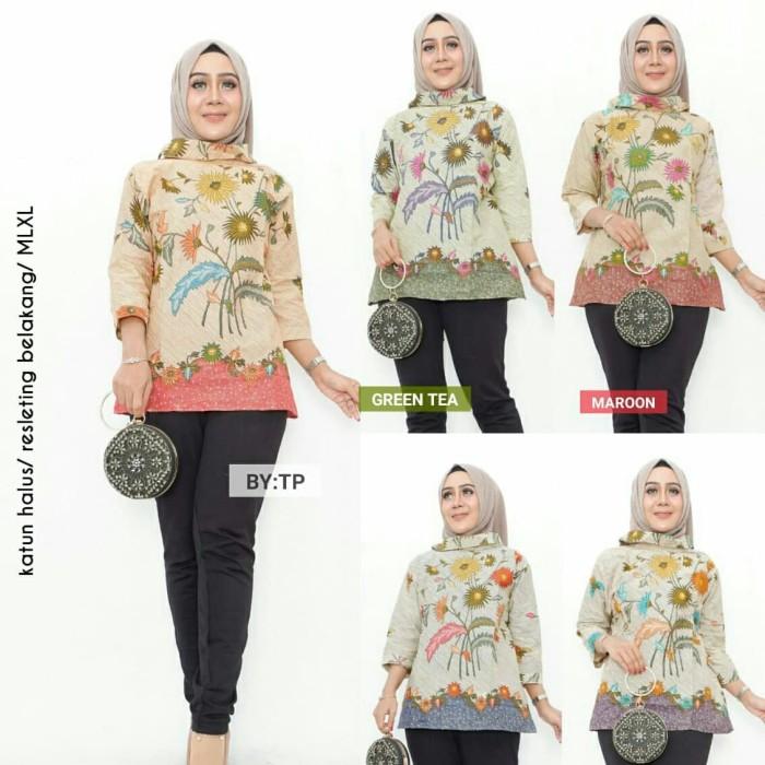 harga Blus santika batik wanita / blouse / baju hijab batik solo Tokopedia.com