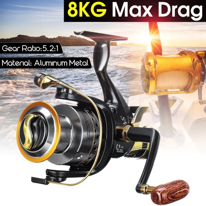 Curved Spinning Reels 5.2:1 Max Drag 8 KG Long Casting Fishing Reel Freshwater