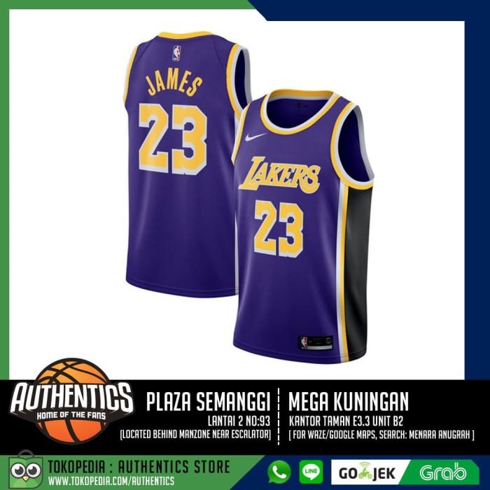 official photos a6edc dd9b3 Jual LA Lakers LeBron James Nike Purple Swingman Jersey - Statement Edition  - Ungu, S - Jakarta Selatan - Authentics Store | Tokopedia