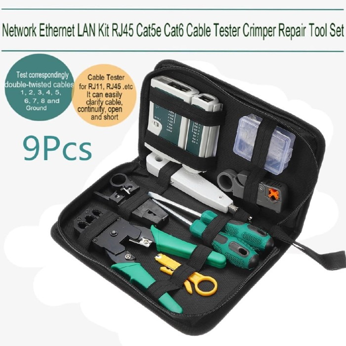 Internet Network Cable Tester Wire Crimp LAN RJ45 RJ11 CAT5 Connectors Tool Kit