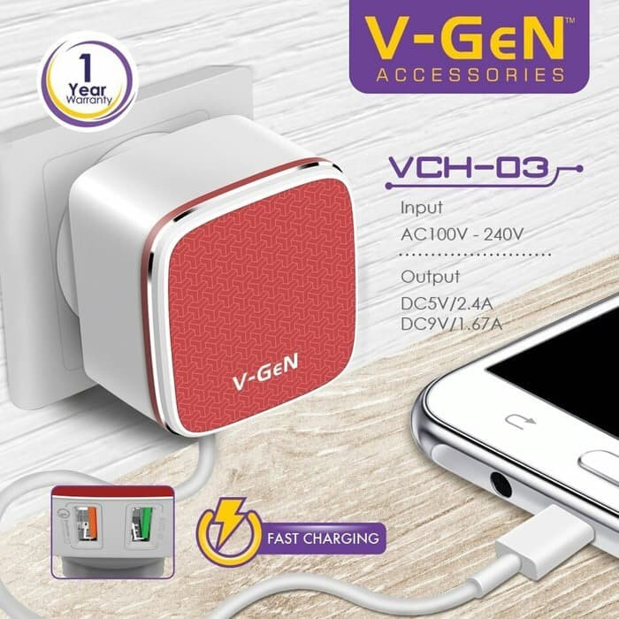 V-Gen VCH-03 Adaptive Fast Charging QC 2.0 - 2 Output