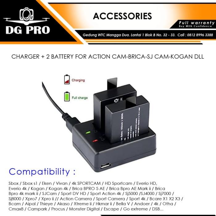 harga Charger + 2 battery for action cam-brica-sj cam-kogan dll Tokopedia.com