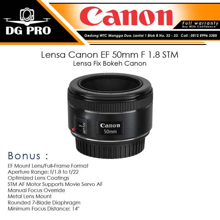 Foto Produk Lensa Canon EF 50mm F 1.8 STM - Lensa Fix Bokeh Canon dari DG PRO