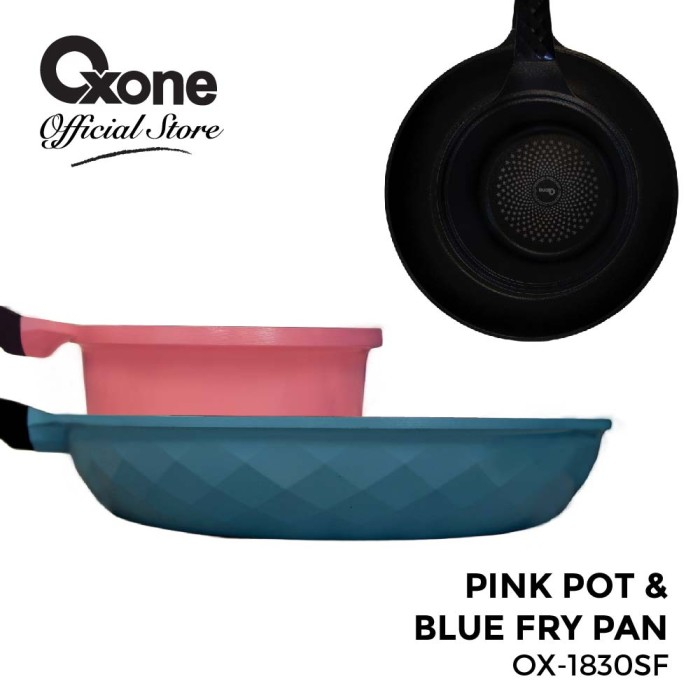 Oxone pink pot & blue fry pan ox-1830sf