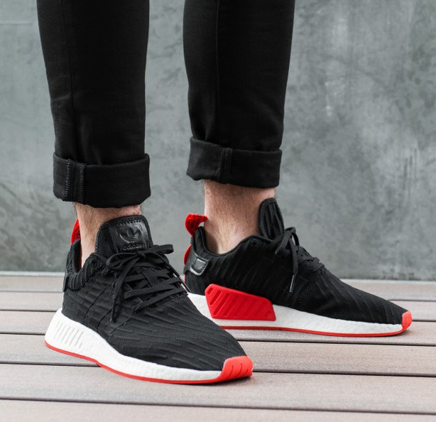 de3132862 Jual Sepatu Adidas NMD R2 Primeknit Black Red Premium Original - AFS ...