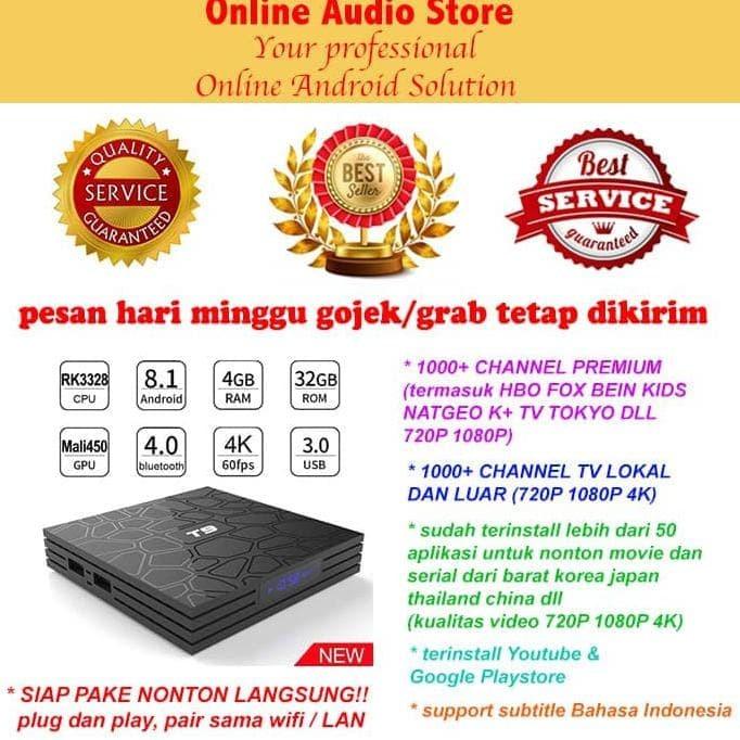 Jual HOT SALE FULL APP T9 Smart TV Box Android 8 1 4GB 32GB RK3328 4K -  darmikadjoyoningrat94 | Tokopedia