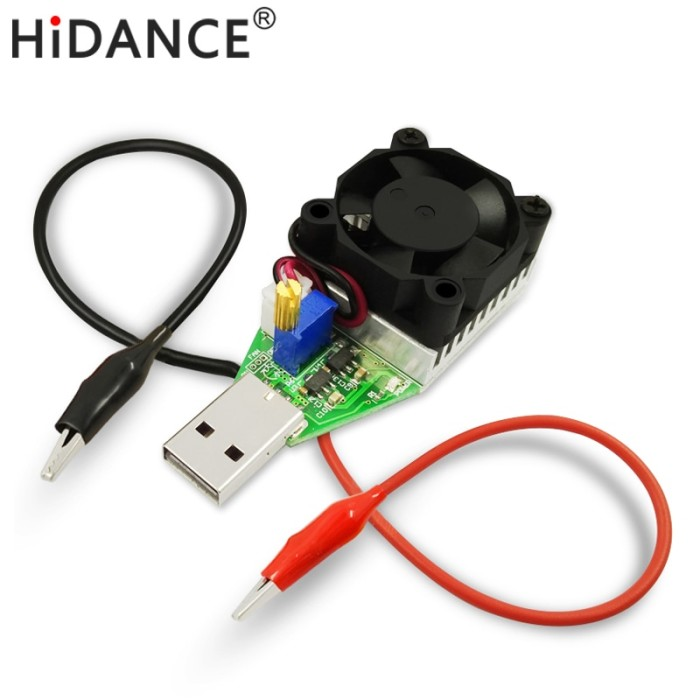 15W 3.7-13V Electronic Load Resistor USB Discharge Battery Tester with Fan
