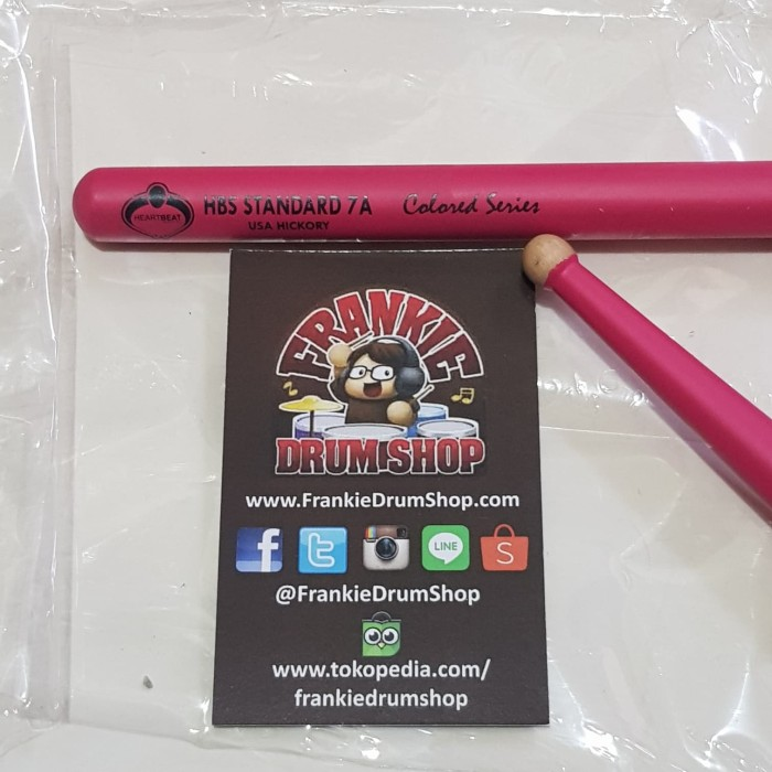 Foto Produk HeartBeat HBS7AHRCP - 7A Pink HBS Standard RoundTip Hickory Stick Drum dari FrankieDrumShop