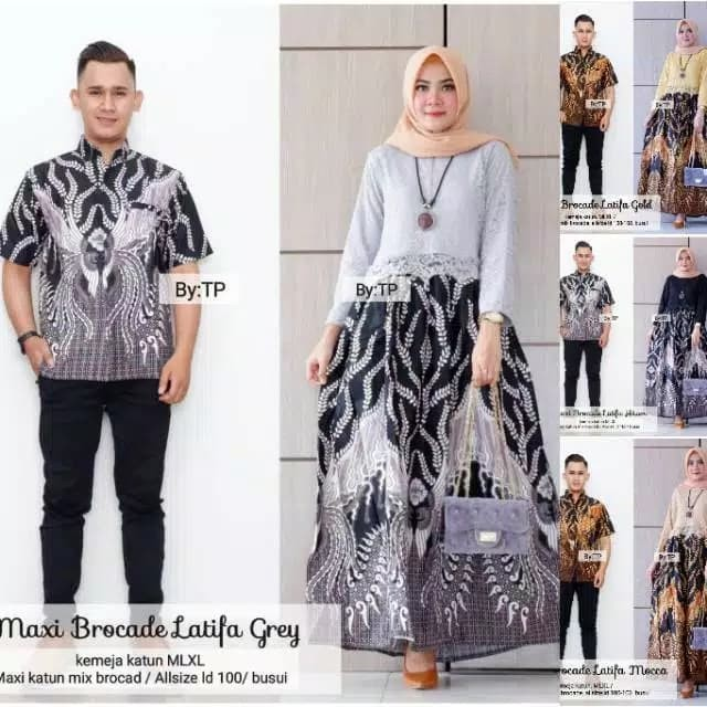 Batik Couple Gamis Maxi Brokat Latifa