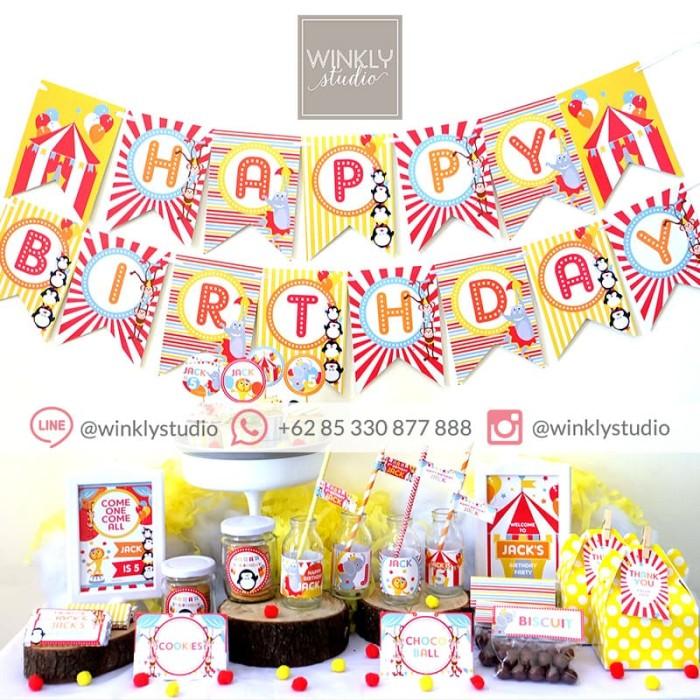 image about Printable Backdrop named Jual Circus Dessert Desk Lovable Corner Bash Printable Pesta Ultah Sirkus - Backdrop Fixed - Kota Surabaya - winklystudio Tokopedia