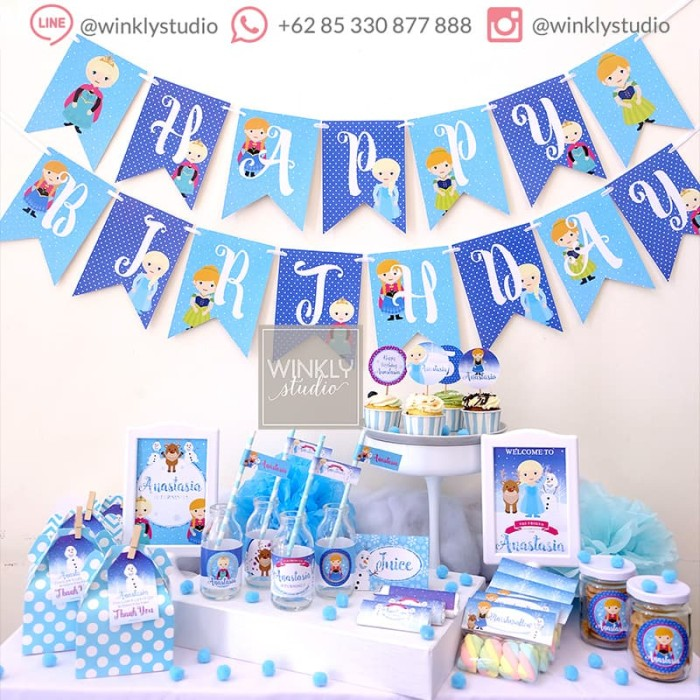graphic about Elsa Printable known as Jual Frozen Elsa Dessert Desk Adorable Corner Celebration Printable Pesta Ultah - Backdrop Preset - Kota Surabaya - winklystudio Tokopedia