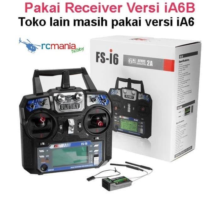 Foto Produk FlySky FS-i6 2.4G 6CH AFHDS RC Transmitter W/ FS-iA6 Receiver dari RCmania Hobby