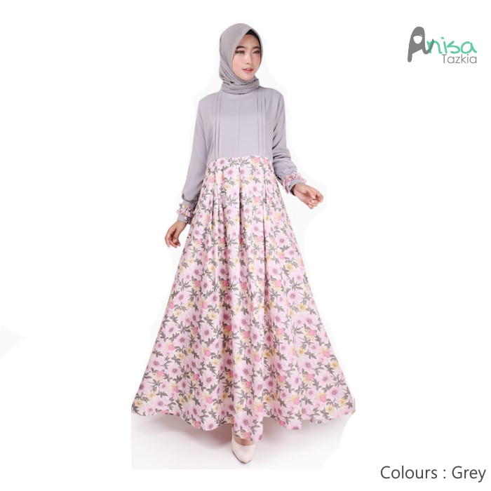 Gamis muslim original | ranum dress grey | maxi katun crepe - grey