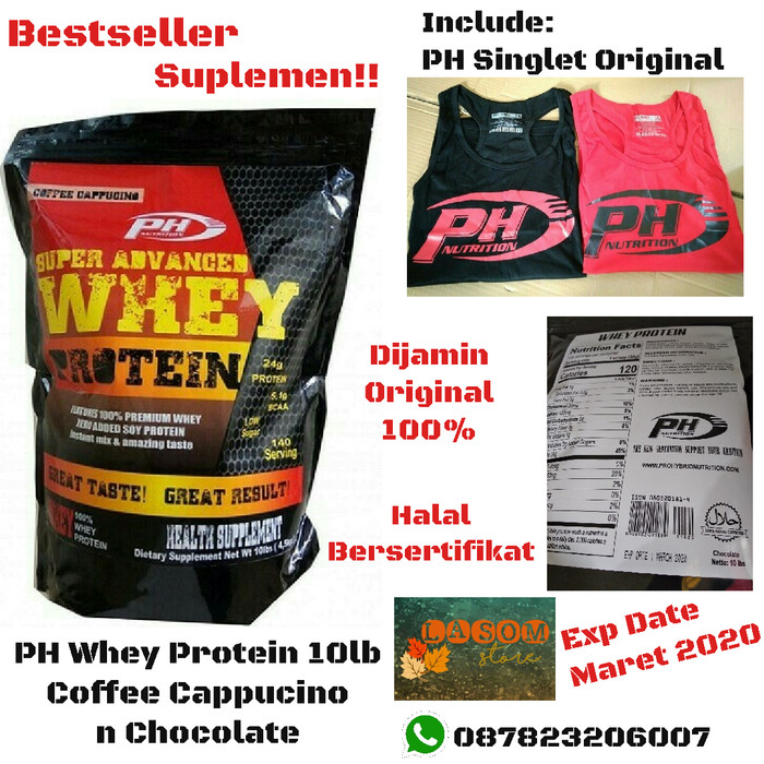 Foto Produk PH Whey Protein 10 lb Pro Hybrid Suplemen Fitness Gym Free Singlet Ori dari LASOM store