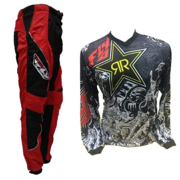 harga Fly rockstar jersey celana merah setelan trail cross motocross Tokopedia.com